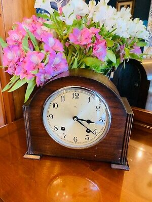Vintage Oak cased 8 Day chiming Art Deco mantel Clock by Garrard of England