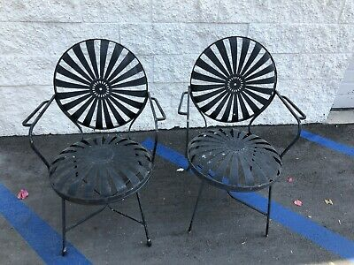 Vintage French Spring Steel Chairs
