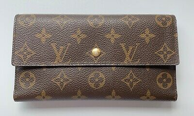 * LOUIS VUITTON LV Logo * Clutch Credit Long Bifold Leather Purse Monogram Brown
