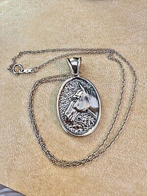 """Dakota West Sterling Repousse Oval Horse Pendant 14.5"""" Chain"""