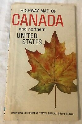 Vintage 1960, fold-out road map of CANADA Northern US - New England