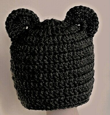 CROCHET BABY TEDDY BEAR BEANIE HAT black photography prop outfit ears goth new