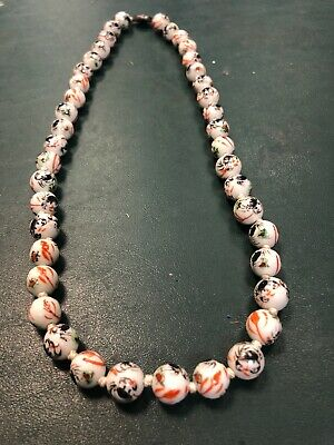Antique Chinese Porcelain Hand Painted Beads Necklace