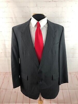 Hart Schaffner Marx Men's Gray Stripe Wool Suit 44R 39X29 $985