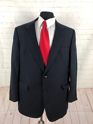 Hart Schaffner Marx Men's Navy Blue Stripe Suit 44R 41X27 $1,098