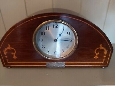 Edwardian Inlaid Rosewood Mahogany Mantle Clock Wind Up Spare Repair