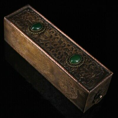 Collectable Old Brass Inlay Jadeite Hand-Carved Precious Hollow Out Censer Box