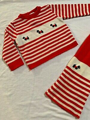 Mid Century Vintage Baby Outfit Knitted Twin Set with Scottie Dog Motif