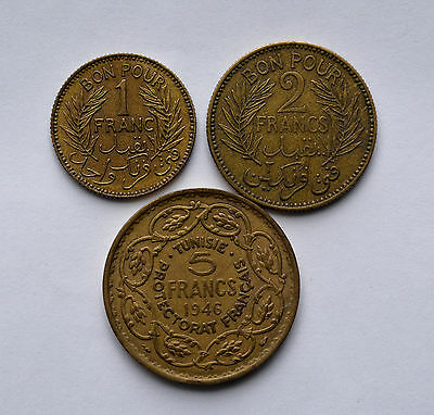 3 Tunisie Coins 1945-1 Fr. 1941-2 Fr. 1946-5 Fr. Perfect