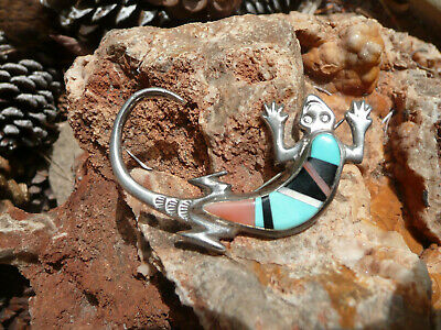 Native American Handmade Sterling Silver with Inlay Lizard Brooch by FL Begay