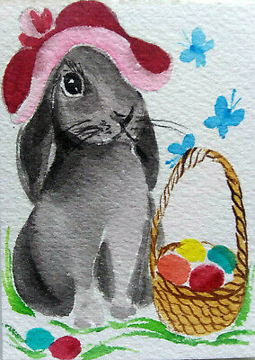 ACEO Easter Bunny  Rabbit Original Watercolor painting  Art  2.5x3.5in by MK