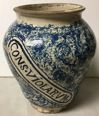 Early Antique Hand Painted Faience Apothecary Medicine Jar Cons Violatum