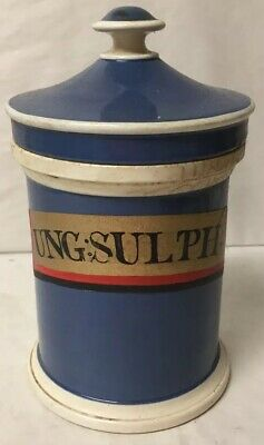 Early Antique Small Blue Ceramic Apothecary Pharmacy Jar Gold Label Ung:sulph: