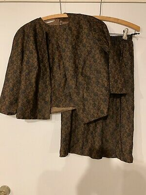 Vintage Brown With Black Lace Overlay Three Piece Suit 1950's Mid-century