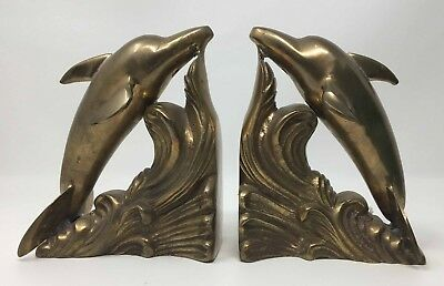 6 Inch Brass Bookends Dolphin Porpoise Book Ends 4.5 Pounds