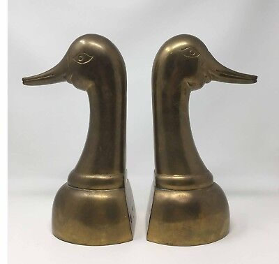10.75 Inch Brass Bookends Duck Head Book Ends 7 Pounds Very Tall