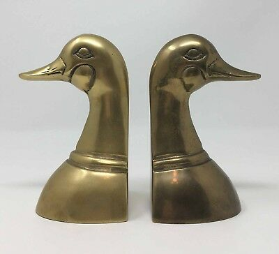 5.25 Inch Brass Bookends Duck Head Book Ends 2.5 Pounds