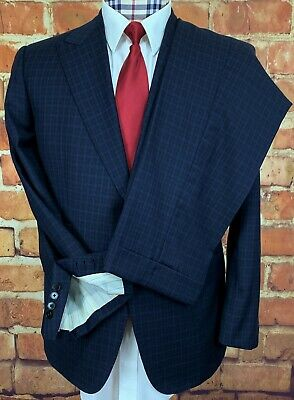 "COPPLEY Suit, 44R, CRICKET ""Hat Trick"" LINING, Blue, SURGEON'S CUFFS, 38 x 31"