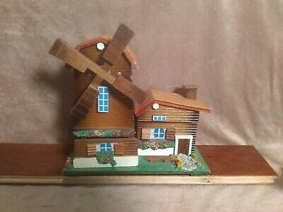 "Vintage Hand Made Wooden Wind Mill Musical With 2 Hide Outs.8"" Tall X8 1/2"" Wide"