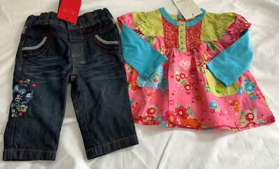 CATIMINI Baby Girls 6m (3-6m) Long/S tunic top with jeans OUTFIT NWT *Super Cute