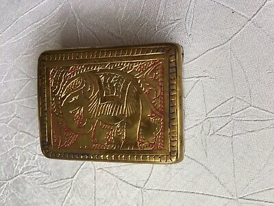 Vintage Old Indian Small Solid Brass Trinket Hinged Box With Carved Elephant.