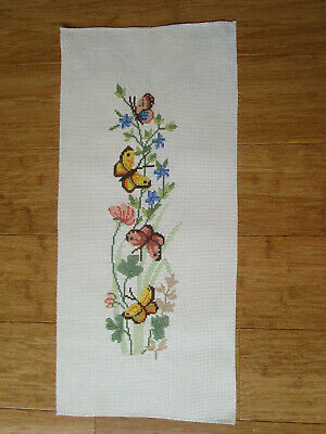 Completed Cross Stitch Of 4 Butterflies And 2 Types Of Flowers