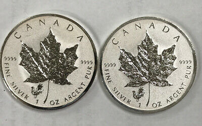 2 x 2017 CANADA 1 oz SILVER Reverse Proof $5 MAPLE LEAF PRIVY ROOSTER coin