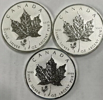 3 x 2017 CANADA 1 oz SILVER Reverse Proof $5 MAPLE LEAF PRIVY ROOSTER coin