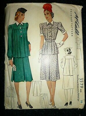 """RARE VINTAGE 1930s/1940s McCALL SEWING PATTERN SKIRT/SHIRT BUST 32"""" HIPS 35"""""""