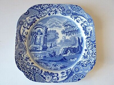 vintage 1933 Copeland Spode Italian blue china 8 3/4 inch wide square cake plate