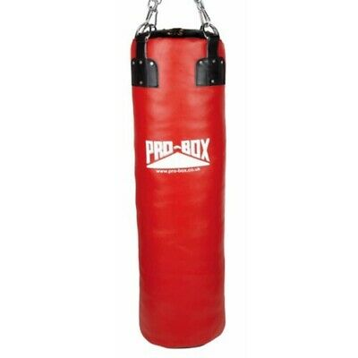 Pro Box 4ft Heavy Leather Punch Bag Red Boxing Kick Strike MMA Home Gym Bag