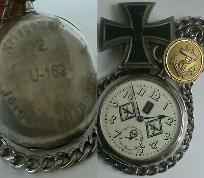 German Ww2 U-Boat U-162 2.Flotila Kriegsmarine Sword 925.Silver Big Pocket Watch