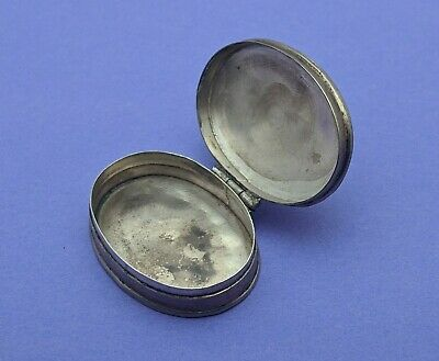 Sterling Silver Oval Pill Box Floral Intaglio Hinged Lid marked 925