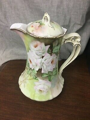 "P.T. Bavaria Hand Painted Chocolate Pot ""Bridal Rose"""