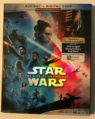 Star Wars The Rise Of Skywalker Used 2019 Film & Bonus Blu-Ray, New Digital Code