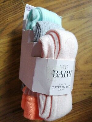 Marks And Spencer Baby Girls Tights x 3 pairs Age 0-6 Months