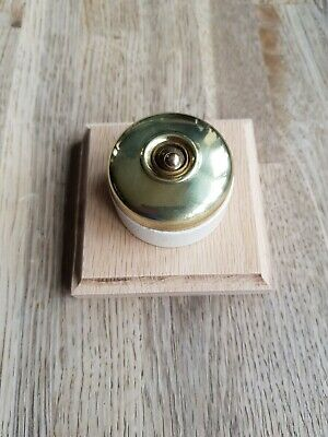 Vintage Round Brass Light Switch Antique Art Deco Old Dolly Double Pole