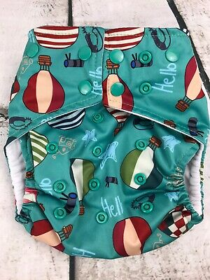 Alva Baby Teal Hot Air Balloon Baby Washable Reusable cloth Diaper  One Size
