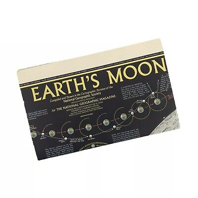 Vintage 1969 National Geographic THE EARTH'S MOON Map Poster Original February