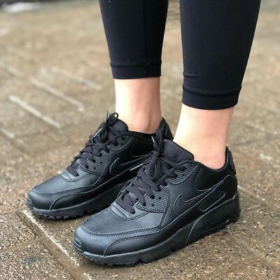 NIKE Air Max 90 Leather GS Scarpe Retro Sport Tempo Libero Sneaker BLACK 833412-001
