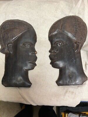 Vintage Hand Carved Wood African Man & Woman Couple  Wall Art Sculptures