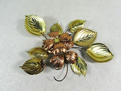 Vintage Brass Copper Tone Metal Dogwood Flower Leaves Wall Decor