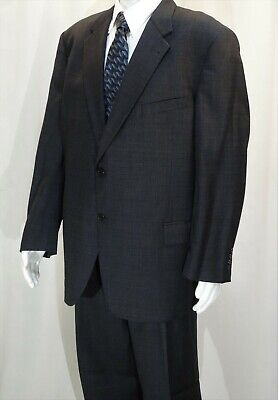 Joseph Abboud~Ec!!~Men's 48R Dark Gray Wool Suit~Pleated Pants 41X34 Made In Usa