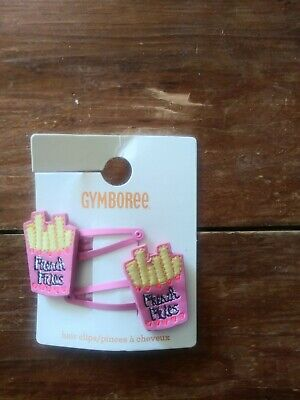 Gymboree new nwt hair clip 2 barrettes French Fries junk food pink darling
