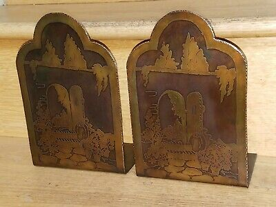 Pair Antique Arts & Crafts Etched Hammered Copper Bookends Stickley Era Vintage