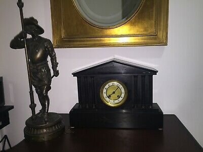 Antique French Mantel Clock  Marble Slate Mantle Clock