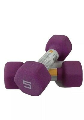 CAP Hex Neoprene 5 lb Pound Set of Two Dumbbell Weights -New- IN HAND SHIPS FAST