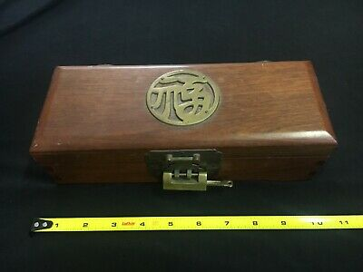 vintage antique Chinese wooden box lock and Key medallion top