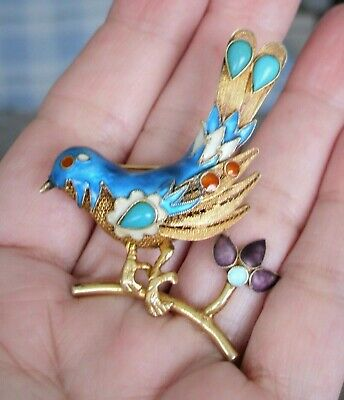 >> LOT of 2 ANTIQUE Vtg CHINESE Export ENAMEL Blue Silver BIRDS Pins BROOCH <<