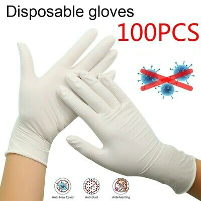 100PCS Disposable White Nitrile Rubber Thick Food Cleaning Latex Durable Gloves
